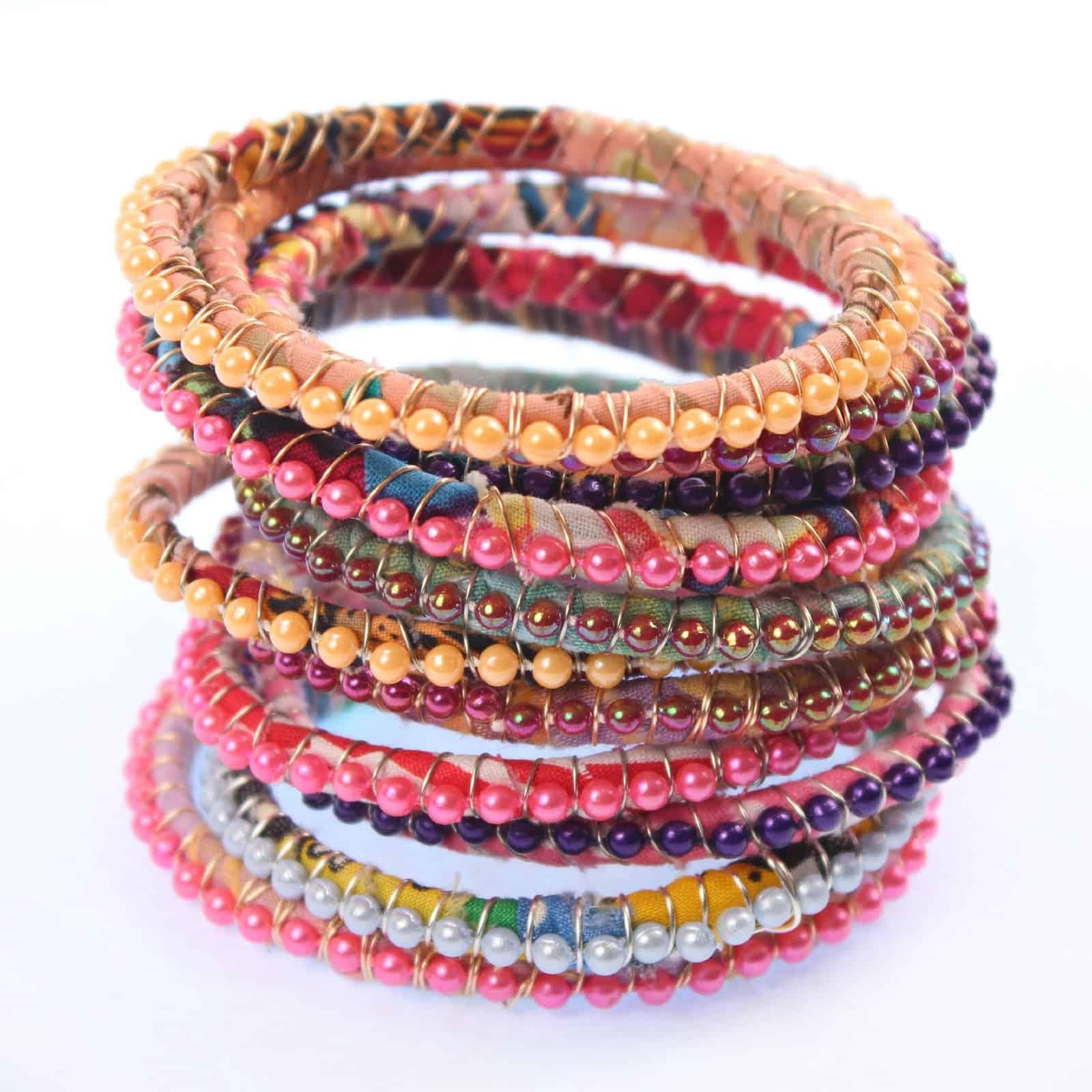 Bead and wire wrapped boho bracelets
