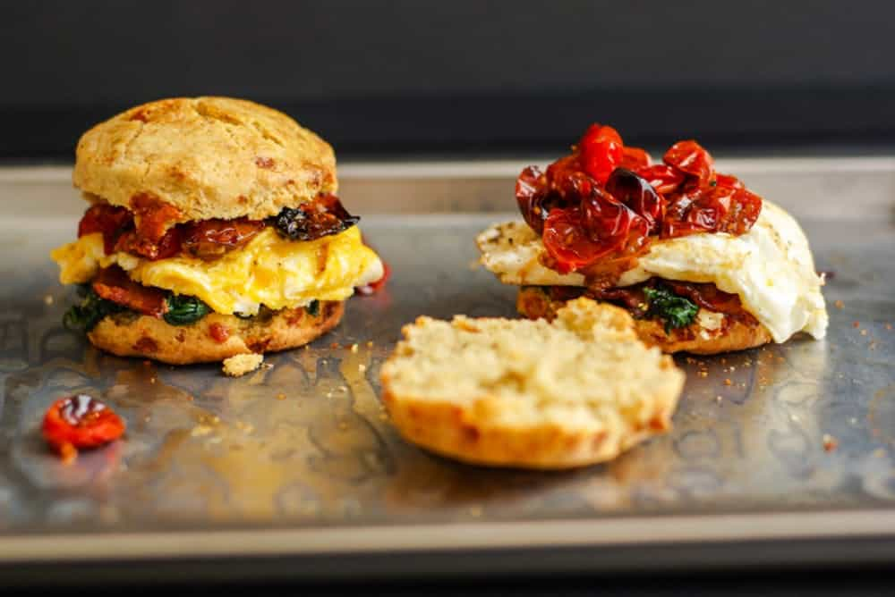Blue cheese biscuit breakfast sandwiches