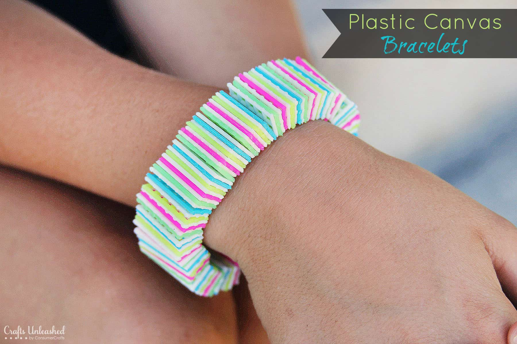 Bright plastic canvas bracelets