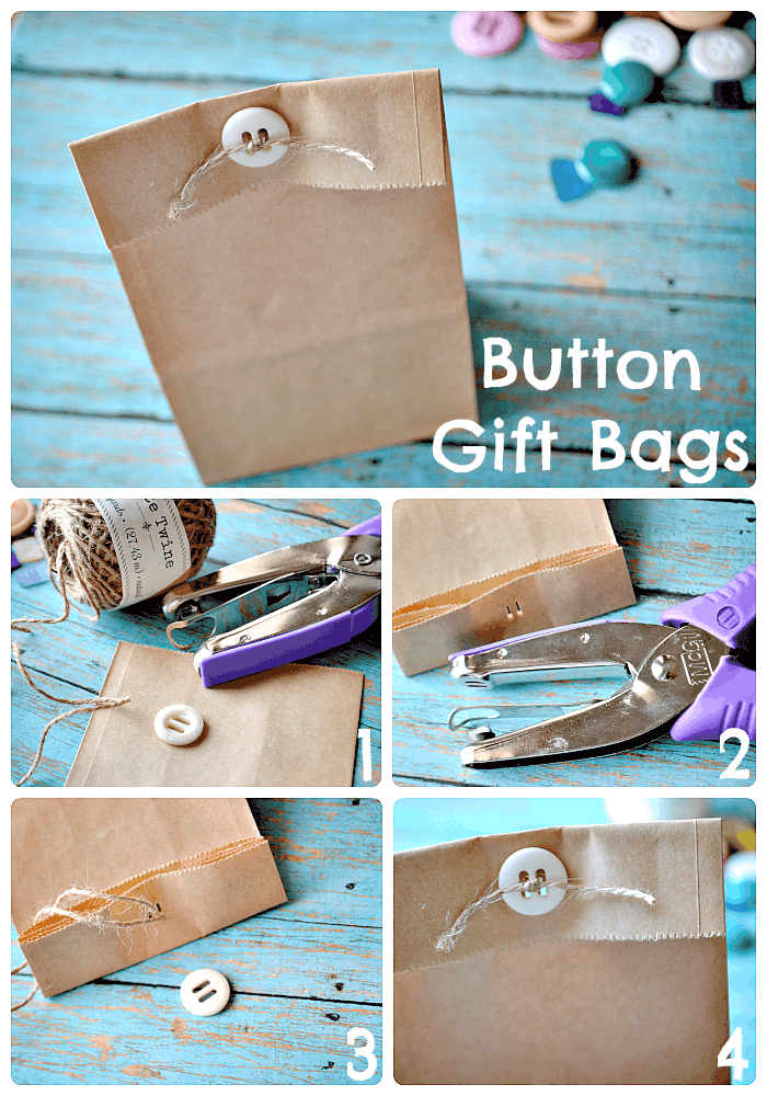 Button topped gift bags
