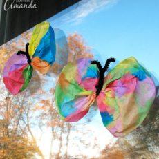 Coffee filter watercolour butterflies