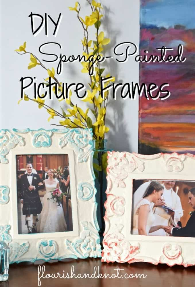 Colour contrasting sponge painted picture frames