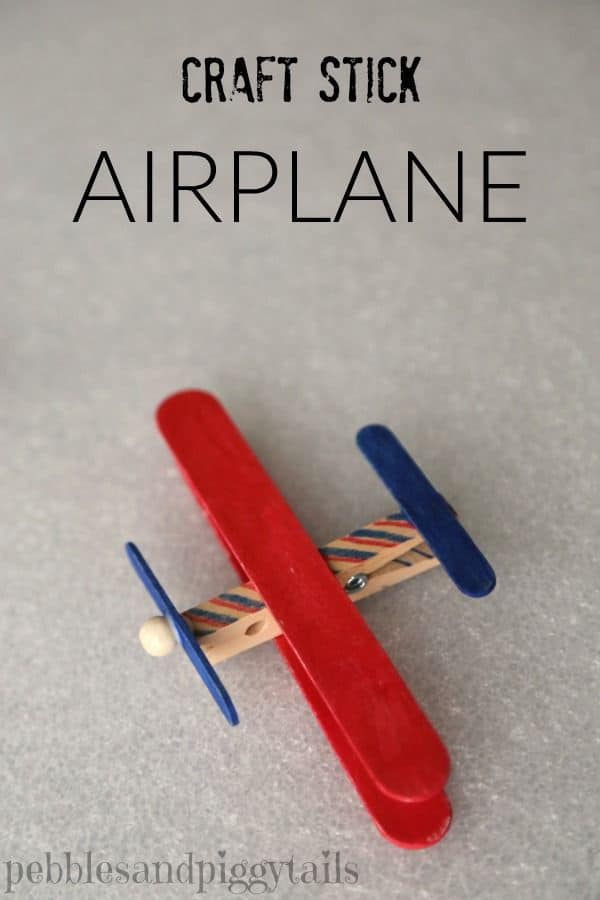 Craft stick and clothespin airplane