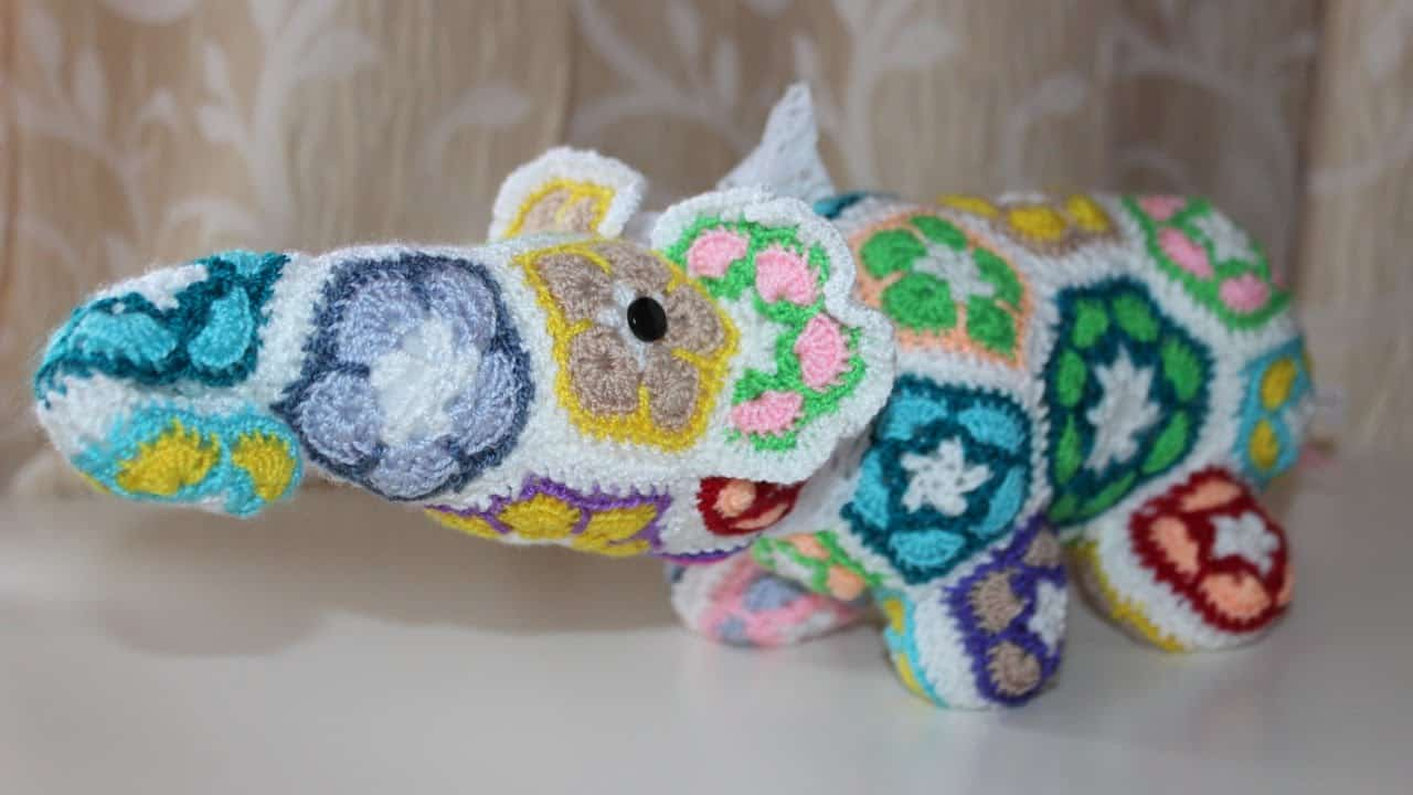 Crocheted african flower elephant