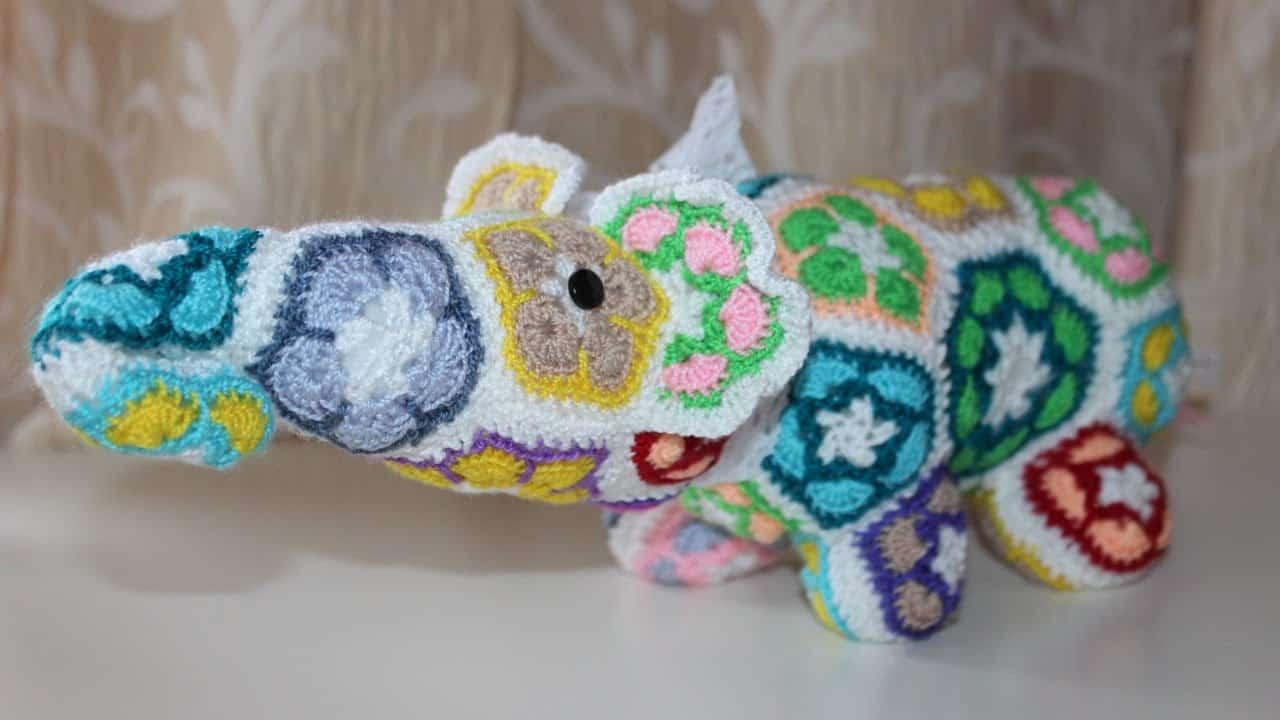 Crocheted african flower elephant