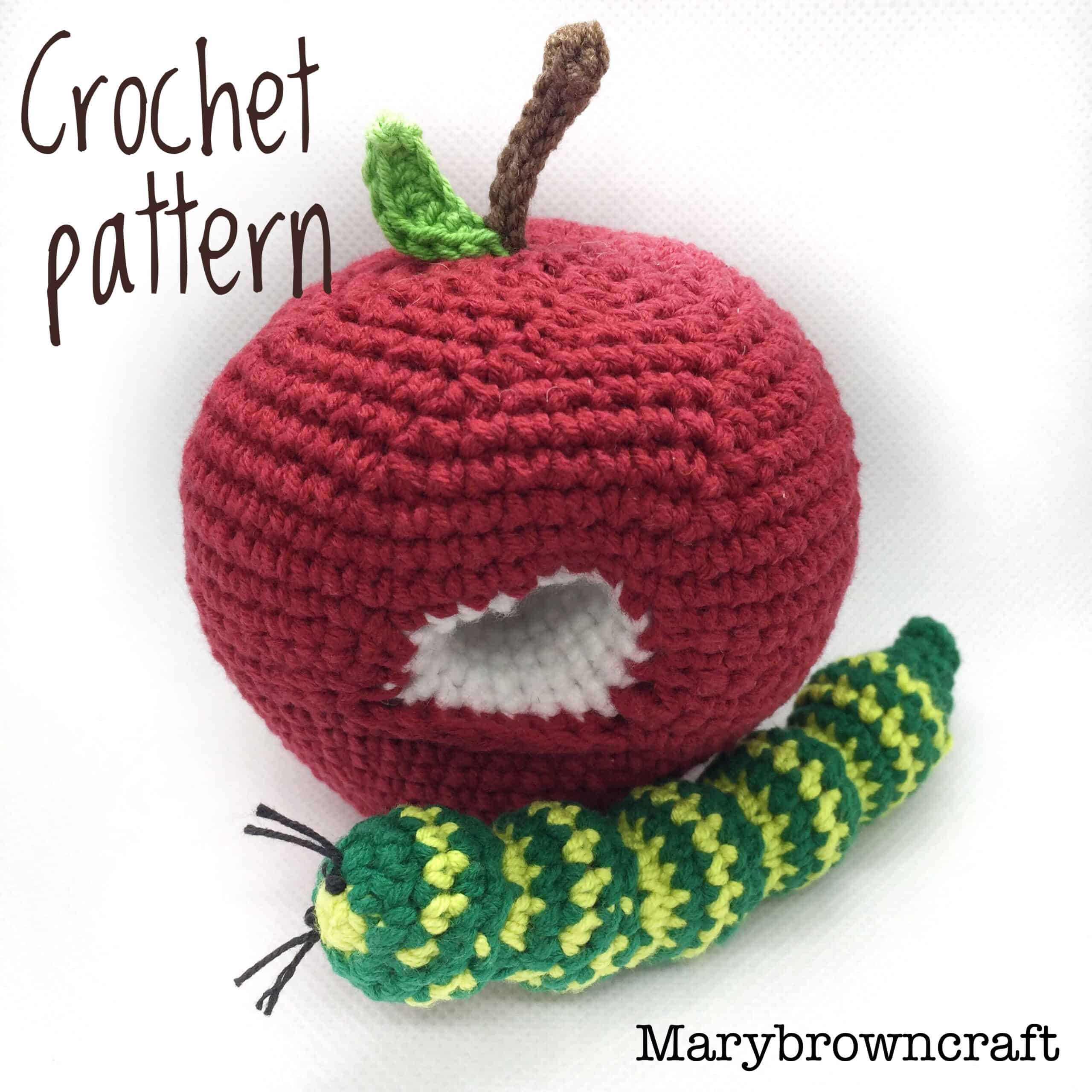 Crocheted apple with a worm