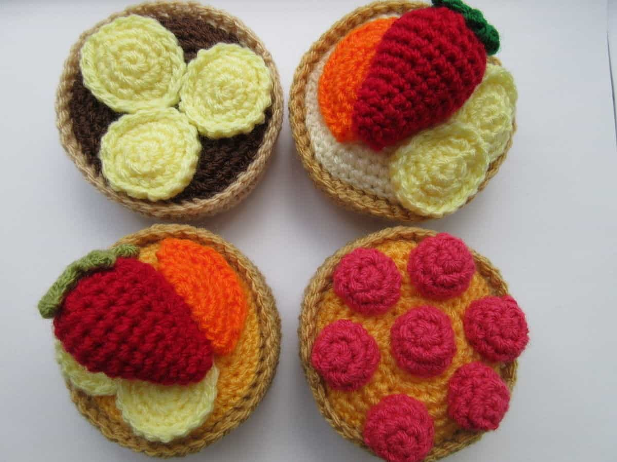 Crocheted fruit tarts