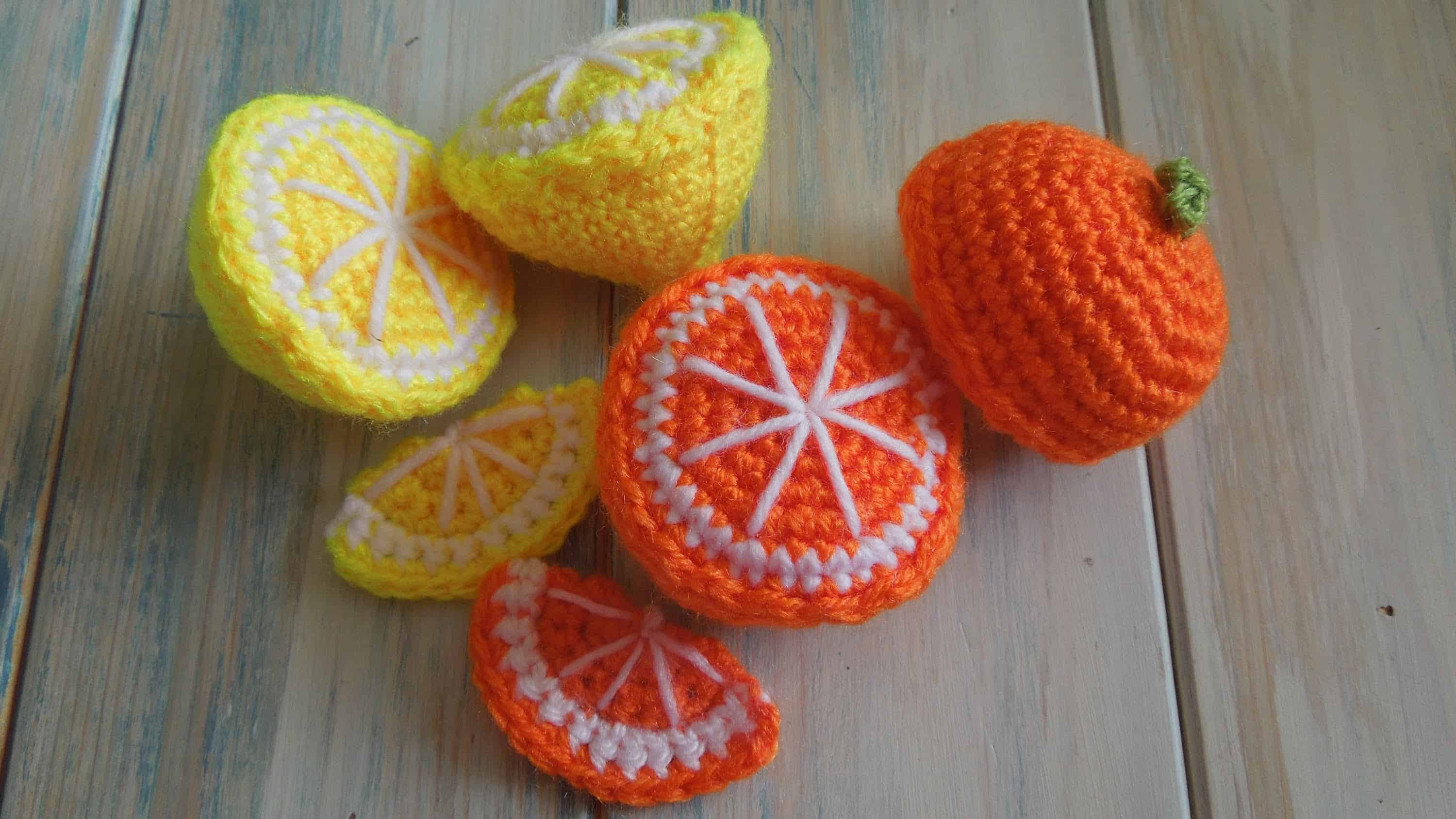 Crocheted half lemons and oranges