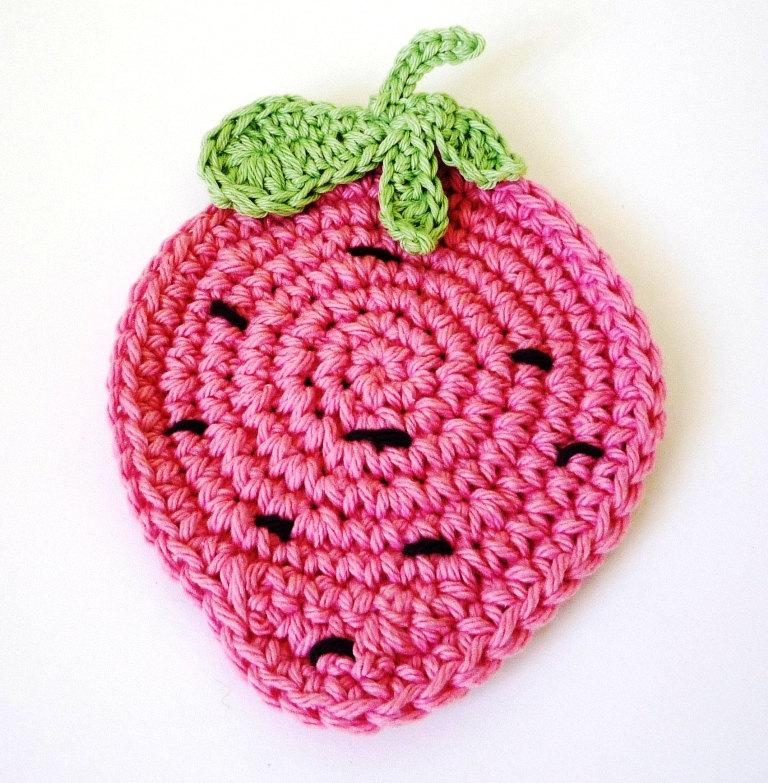Crocheted strawberry coaster