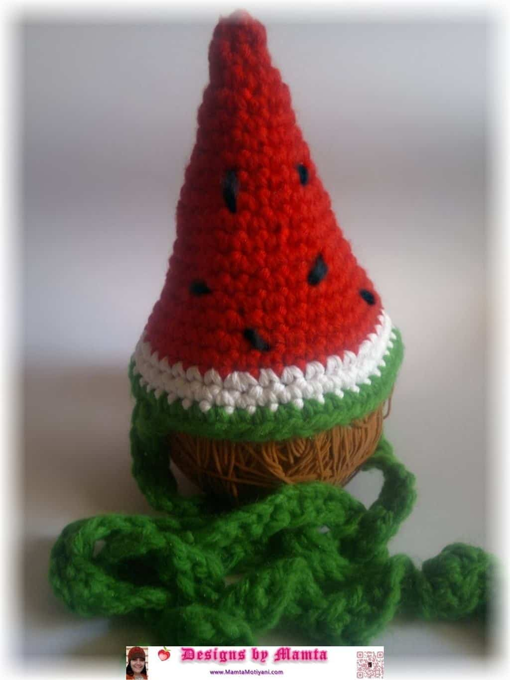 Crocheted watermlon wedge party hat