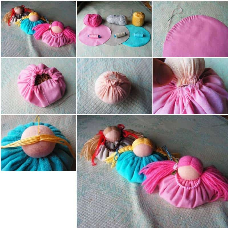 Cute bunched fabric dolls