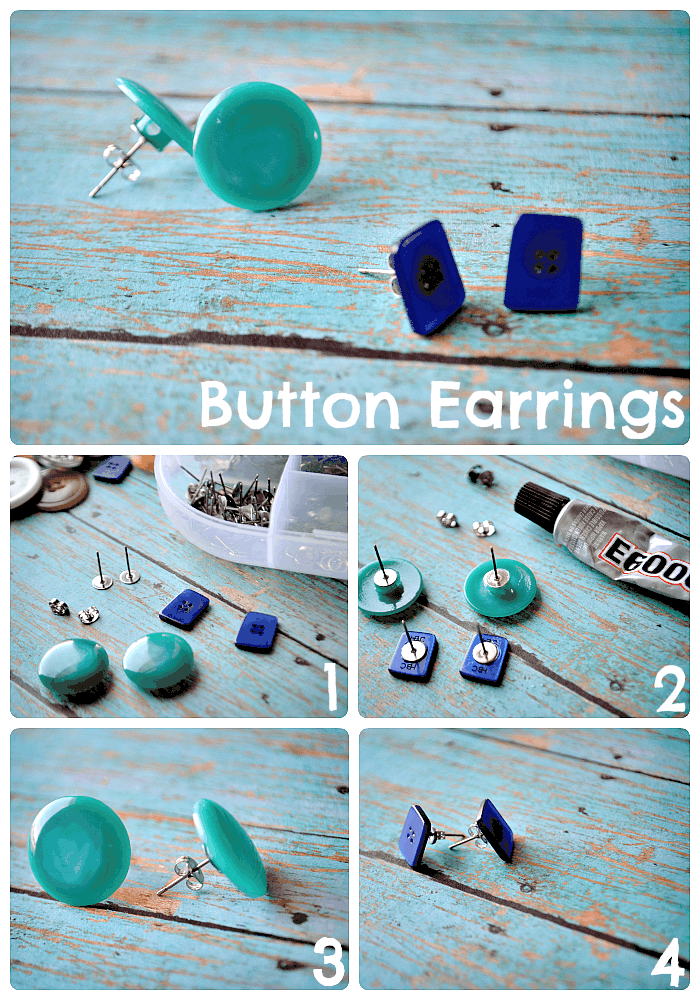 Cute button stuf earrings
