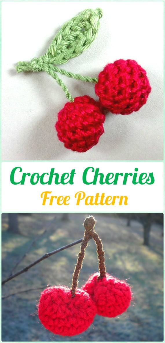 Cute crocheted cherries