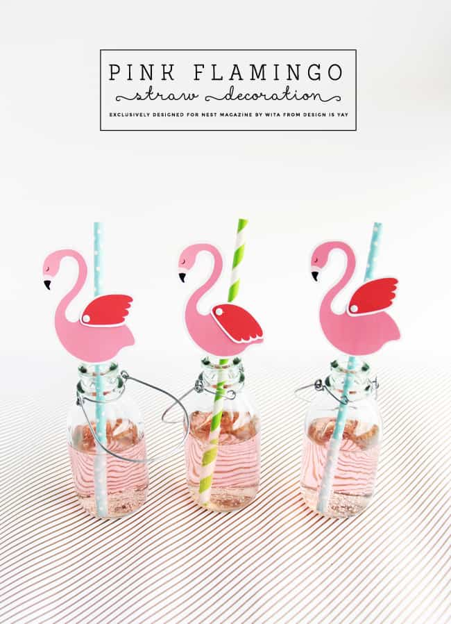 Cute flamingo drinking straws