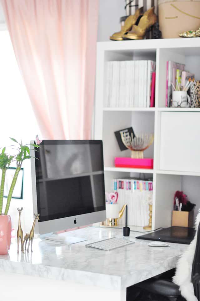 Diy faux marble desk marble desktop