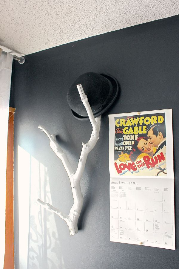 Diy tree hat rack