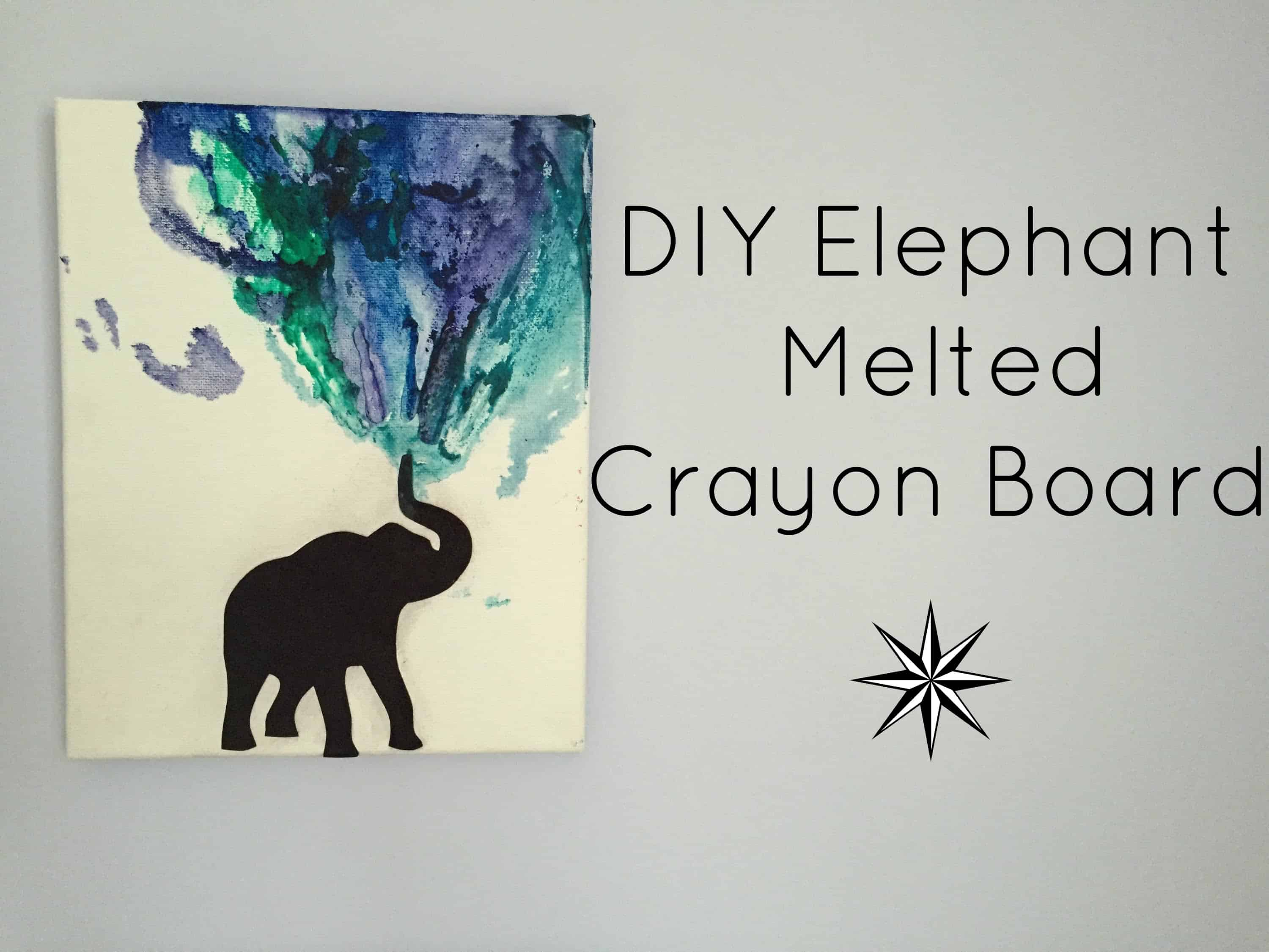 Diy elephant melted crayon board