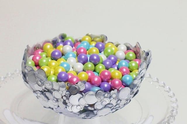 Diy metallic confetti bowl