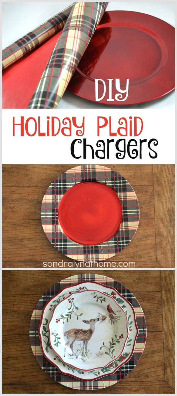 Diy plaid holiday chargers