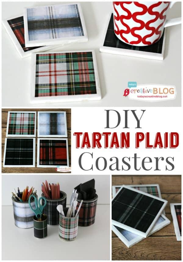 Diy tartan coasters