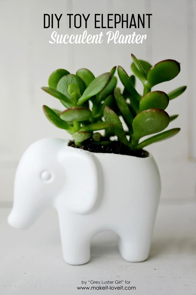 Diy toy elephant succulent planter