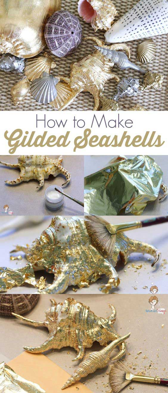 Decorative gilded seashells