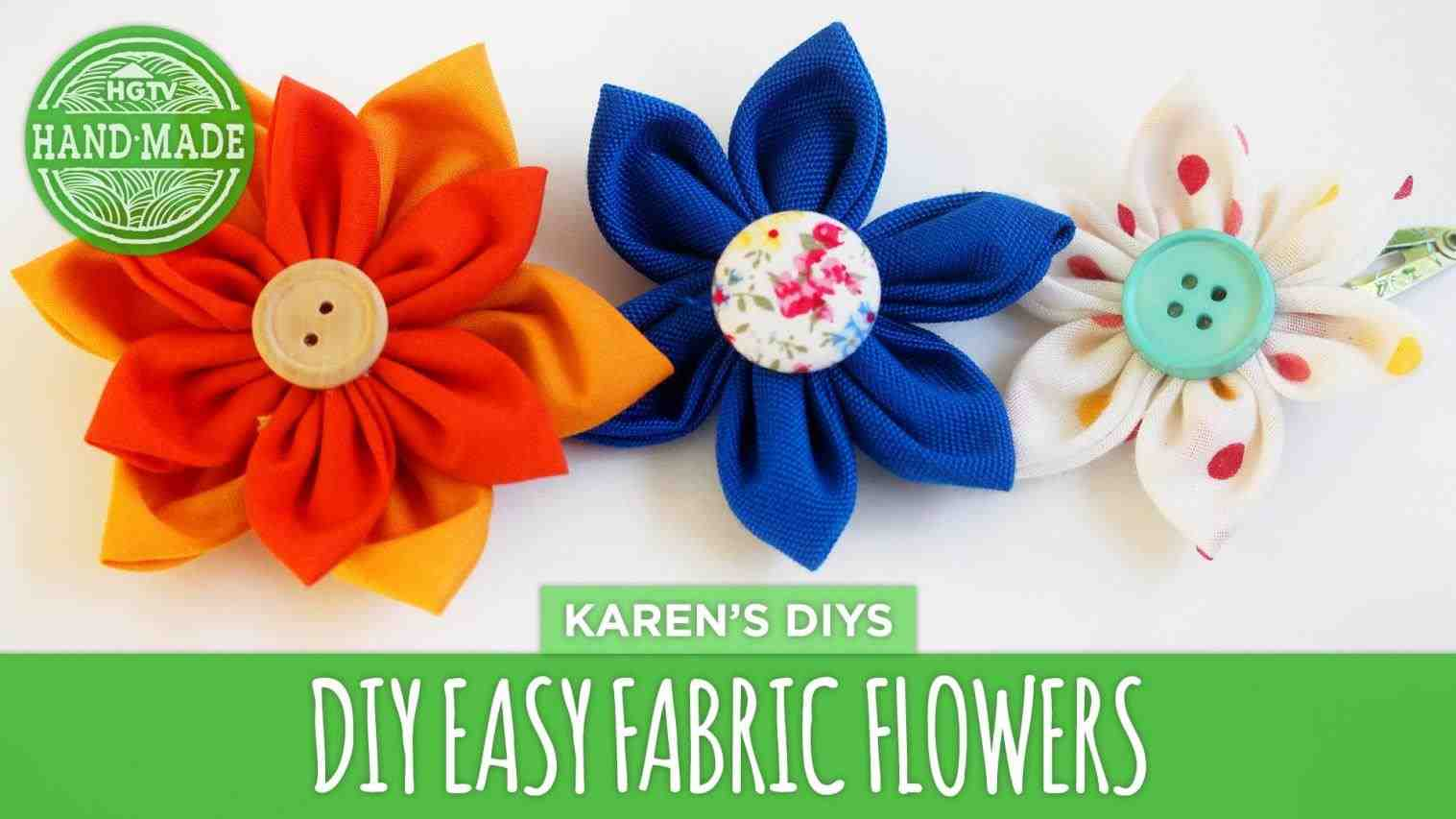 Easy button and fabric flowers