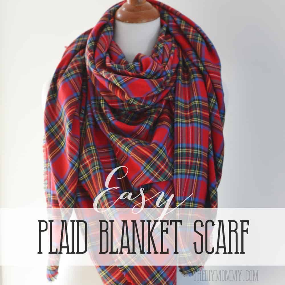 Easy no sew plaid blanket scarf