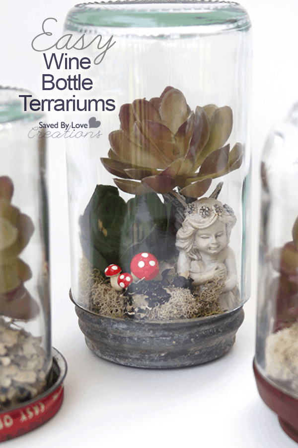 Easy wine bottle terrarium