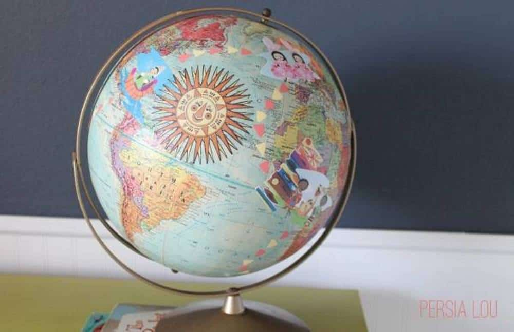 Eclectic decoupaged globe