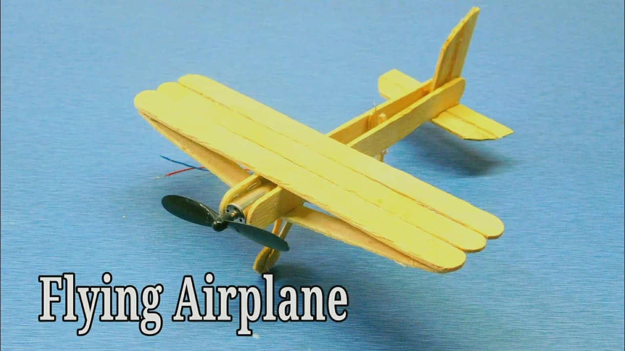 Elastic and ice cream stick airplane
