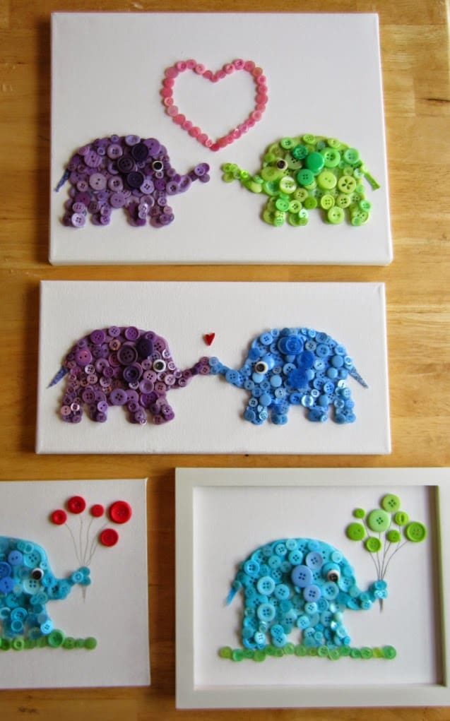 Elephant painting from buttons