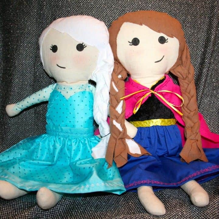 Elsa and anna rag dolls