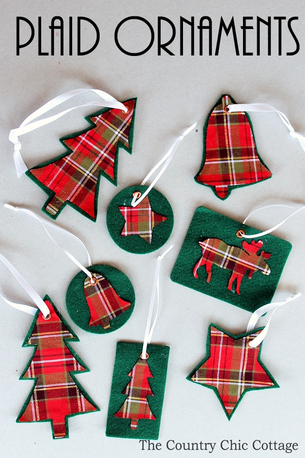 Felt and plaid christmas ornaments