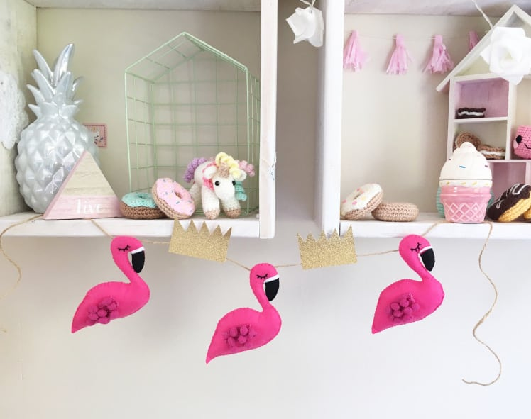 Flamingo and tiara bunting