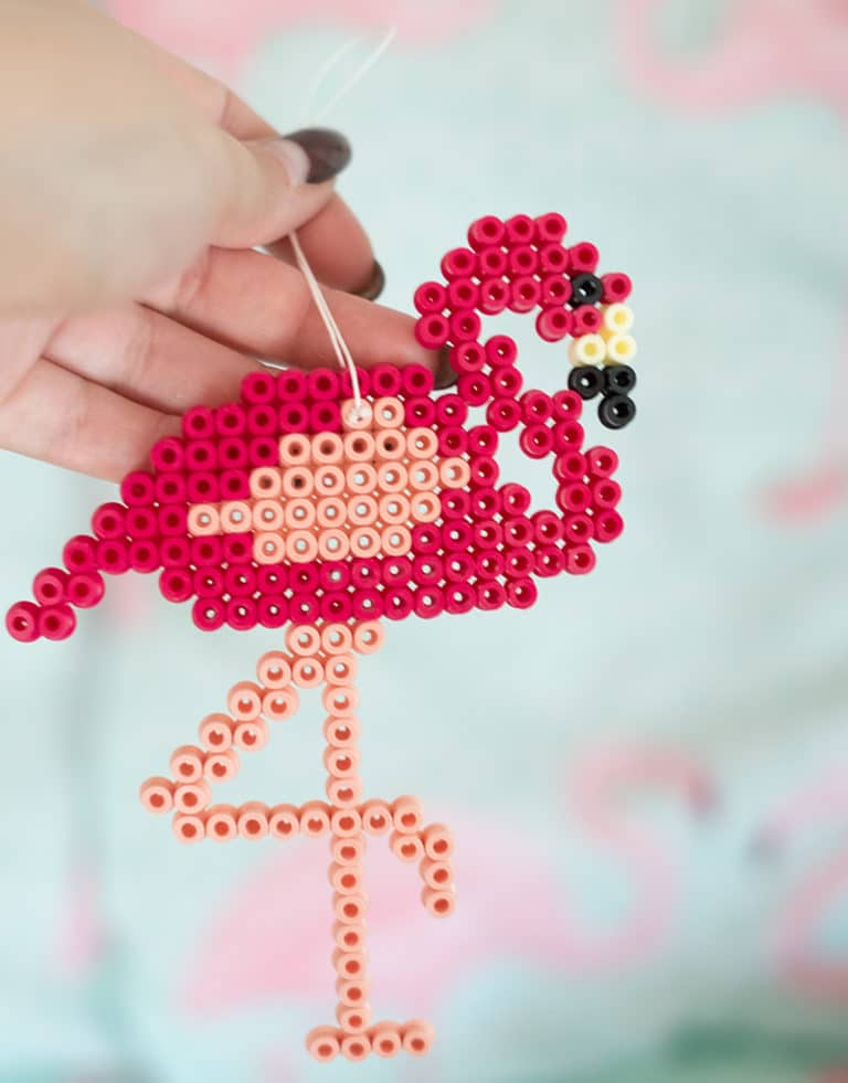 Flamingo perler bead decoriation