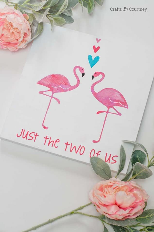 Flamingo themed canvas quote art