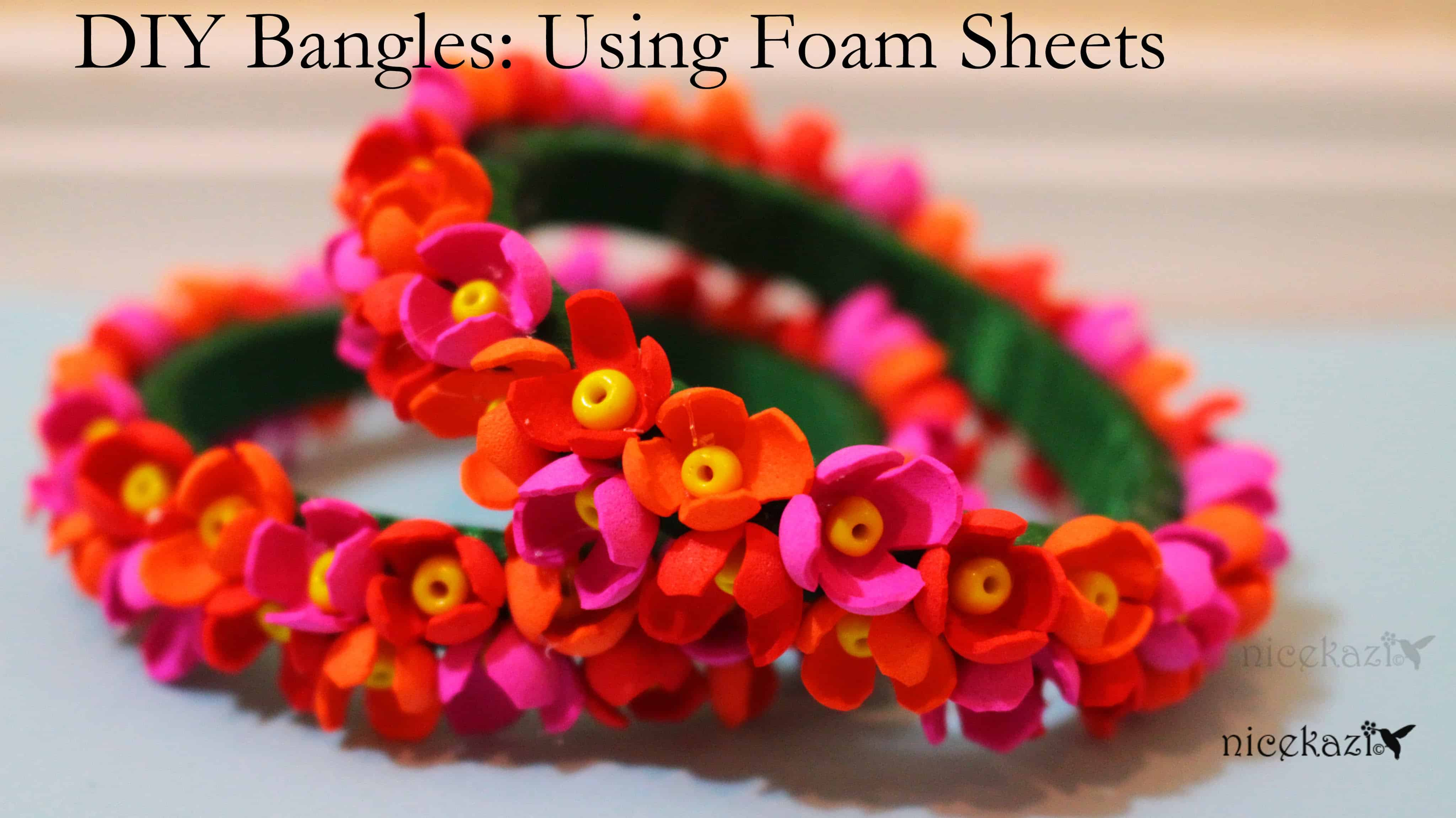 Foam sheet flower bangles