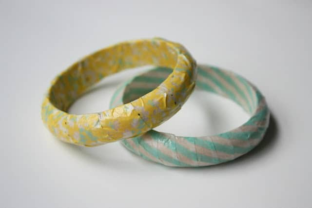 Fully washi tape wrapped bangles