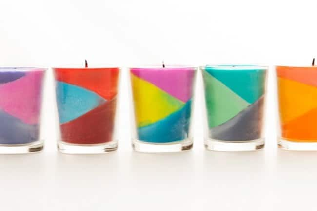 Gemoetric crayon block candles