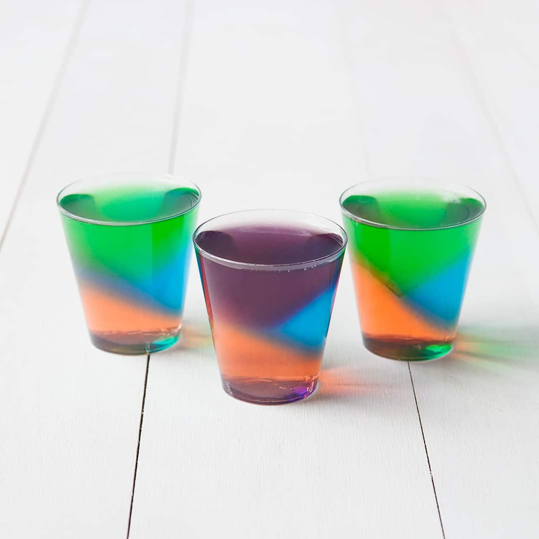 Geometric, mnulti coloured jell o shots