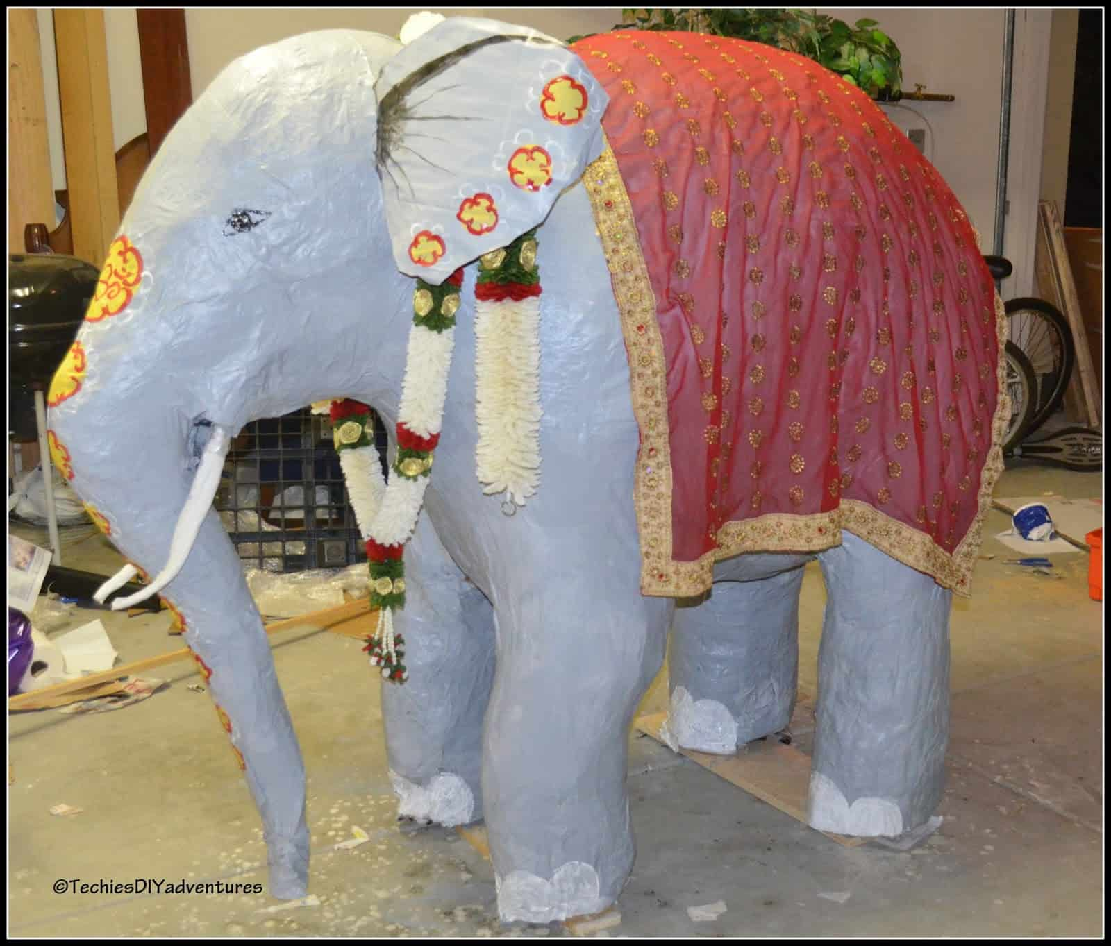 Giant papier mache elephants
