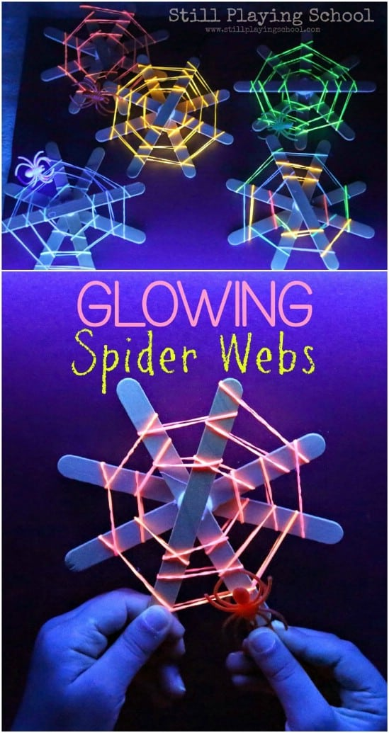 Glowing spider webs