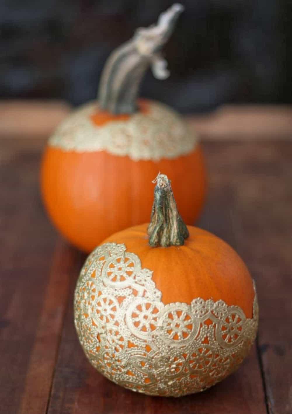 Golden Doily Pumpkin Decor