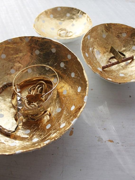 Gold leaf papier mache bowls