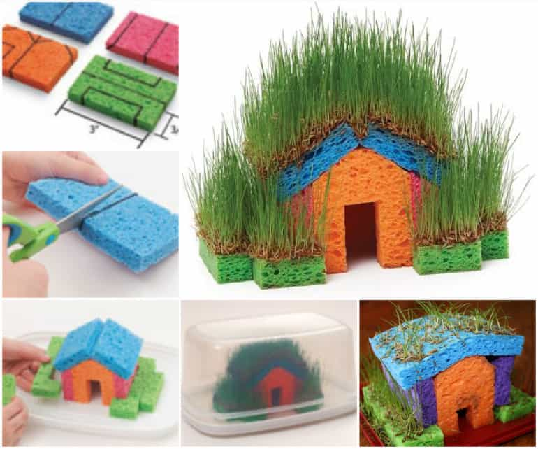 Grass cottage made from sponges