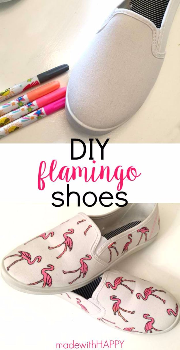 Hand drawn flamingo shoes