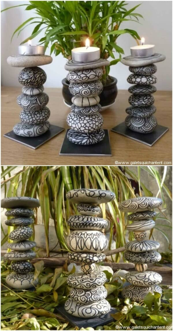 Hand drawn stone candle sticks
