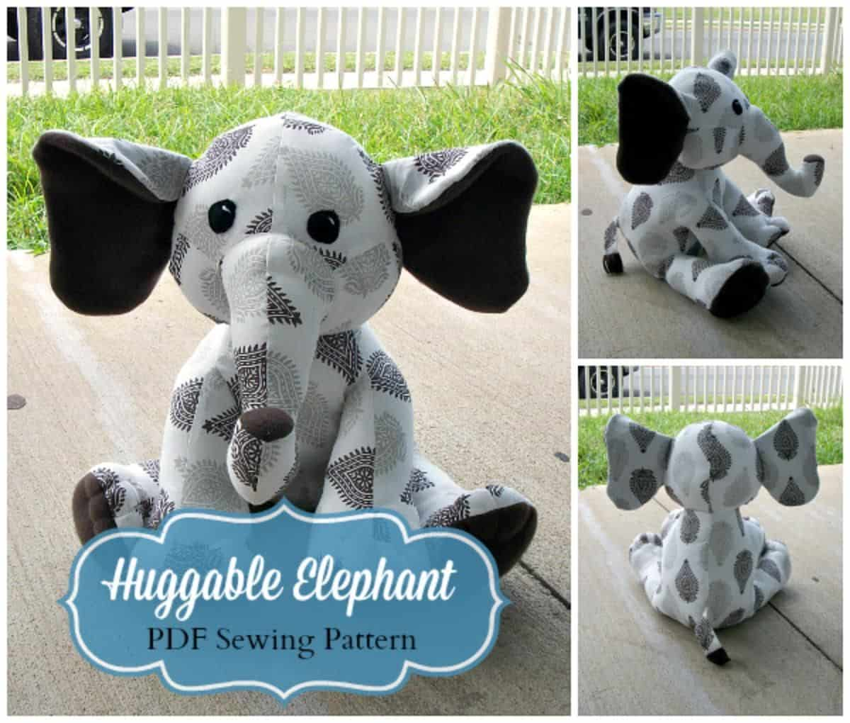 Huggable sewn elephant