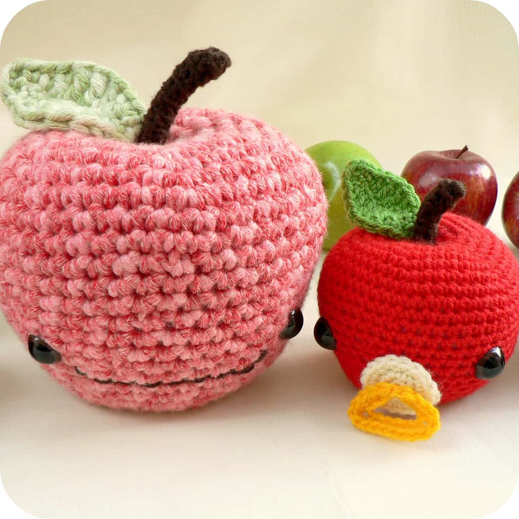 Johnny apple and little mac crocheted apples